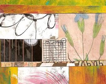 """Purple Sage - Original Collage mit verwittert und Hand gezeichnete und gemalte arbeiten 4 x 4 auf 5 x 5"""" sichern"""