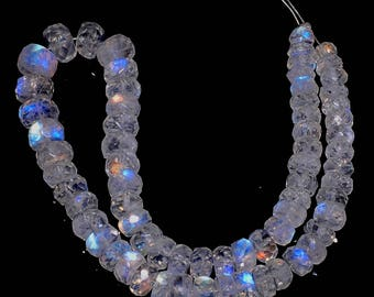 """8""""100% natural rainbow moonstone faceted rondelle loose beads 4.5-6.5mm GW3053"""