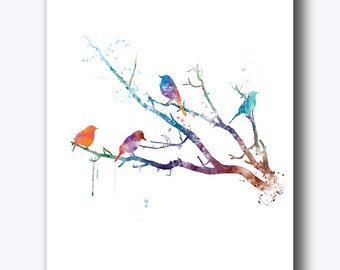 Bird Painting Bird Art Bird Watercolor Poster Print Bird on Tree Branches Gift For Mom Wall Decor Nature Prints Wall Art Digital Download
