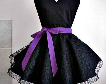 Apron # 4320 - Black apron with black lace over the bottom part.