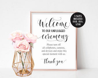 Unplugged Wedding Sign, Unplugged Ceremony Sign, Unplugged Sign, Large Welcome Sign, Wedding Welcome Sign Printable, No Camera Sign No Photo
