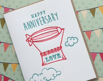 Happy Anniversary Blimp - letterpress card