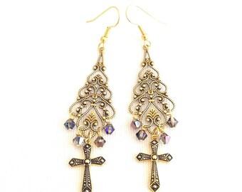 cross earrings, bohemian earrings with cross, dangle cross earrings, chandelier cross jewelry