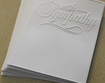 With sympathy card set, set of eight embossed sympathy cards in white, gift idea, sympathy card, memorial card set, loss card set