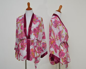 burgundy trim robe, Bohemian jacket, floral short robe, sheer robe top, paradise flowers, satin trim chiffon, Floral print robe