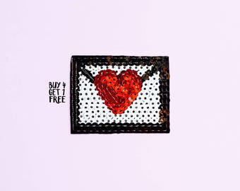 Sequin Heart Emoji Envelope Iron On Patch - Heart Patch - Emoji Patch - Jean Jacket Patch - Disney Patch - Lolita Patch- Fairy Kei Clothing
