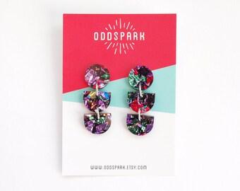 ODD Dangly Earrings in Kaleidoscope Acrylic