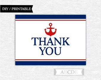 Instant Download Red and Navy Nautical Party Thank You cards Thank You notes Birthday party Baby shower DIY Printable (PDNSI001)