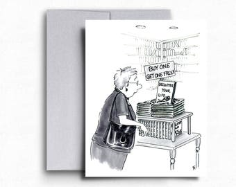 Housewife Funny Greeting Card Declutter Your Life Card Funny Cartoons Housewife Cartoon Illustration Blank Cards Humorous Cards DIY Humor