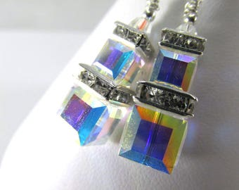 Crystal AB Double Stack 8mm and 6mm Square Swarovski Earrings on Sterling Silver Wires - great bridesmaid earrings