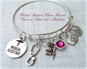 Medical Assistant Bracelet, Gift for Medical Assistant, Personalized Gift, Birthstone Jewelry, Gifts for Her, Gifts for Women, Gifts Ideas