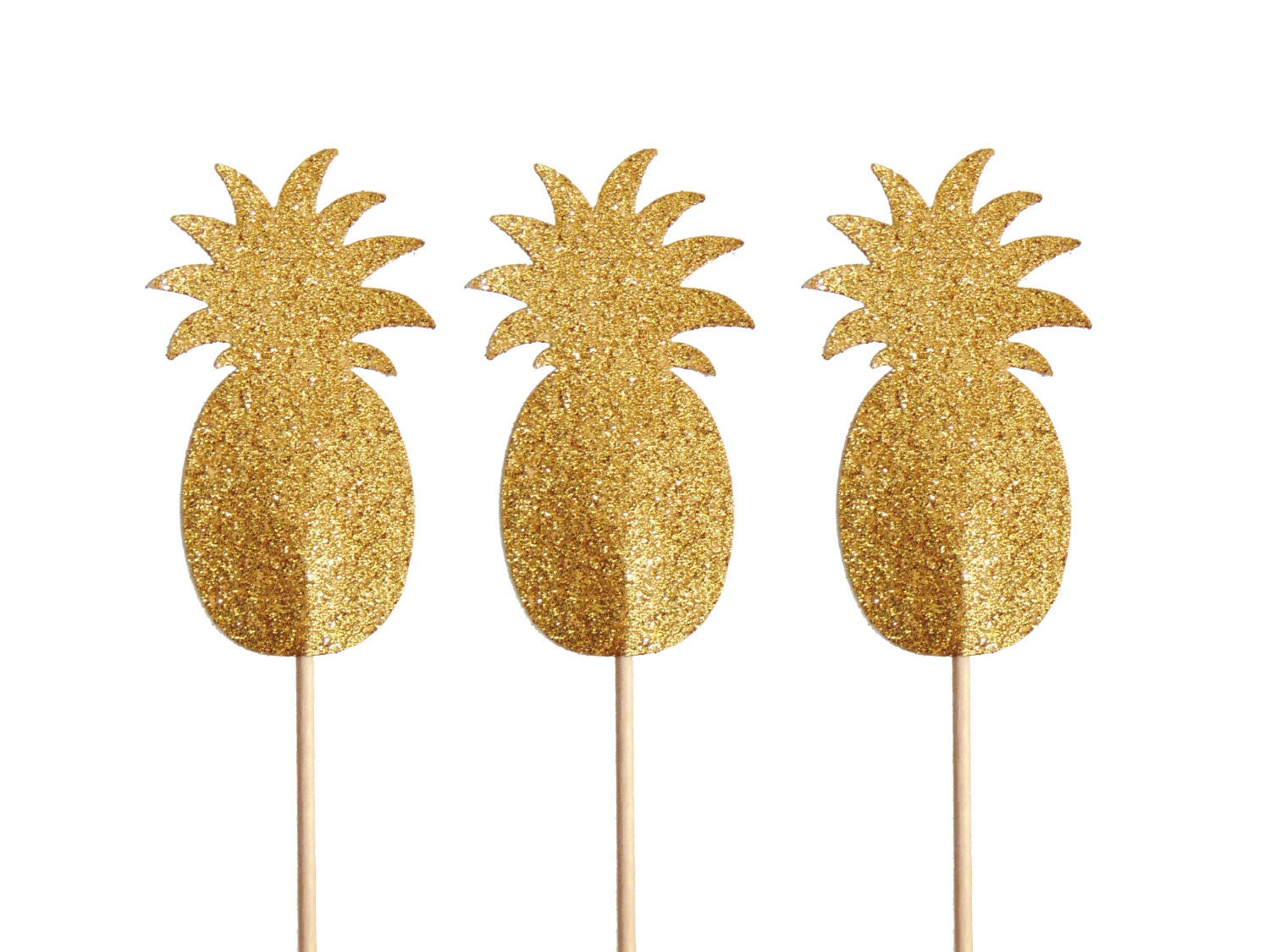 Gold Pineapple Cupcake Toppers 12CT, Tropical Party, Bridal Shower ...