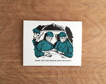 Bad Doctors, Funny Letterpress Greeting Card.