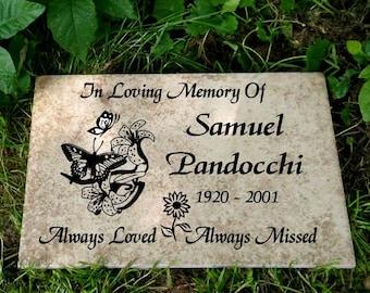 "Garden Memorial plaque. Maintenance Free 12""x8""x3/8"" ""Sam"" Design- Weathered Italian Porcelain"