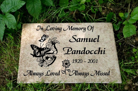 "Garden Memorial plaque. Maintenance Free 12""x8""x3/8"" ""Sam"" Design- Weathered Italian Porcelain"