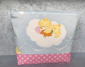 Girls RARE Care Bears HTF 80s Retro Cotton Makeup Bag Cosmetic Zipper Bag Pencil Pouch Knitting Bag  Gift