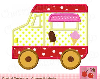 Ice Cream Truck Machine Embroidery Applique Design - 4x4 5x5 6x6""