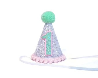 Birthday Party Hat || Pink and Mint | First Birthday Party Hat || Girl Party Hat || Little Blue Olive ||1st Birthday Party Hat