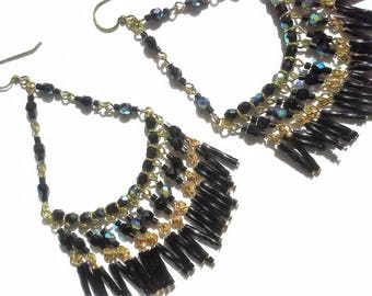 Bohemian Earrings for Women Black Boho Seed Bead Earrings Fringe Statement Earrings Bead Earrings Fringe Dangle Beaded Earrings Seed Bead