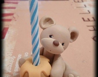 First Birthday cake topper - Bear candle cake topper handmade with polymer clay - baby shower gift