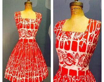 KAMEHAMEHA Red & White Vintage 1950's 1950s Tiki Hula Hawaiian Day Sun Sundress Dress w Tropical Angel Fish and Coral Reef Batik Print S M