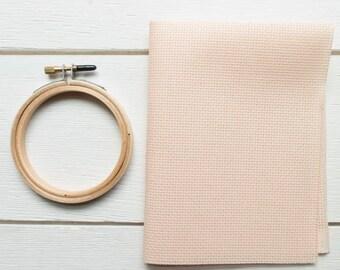 Cross Stitch Fabric - 16 count Aida Cloth | 100 percent cotton Peach Cross Stitch Aida Fabric - Touch of Peach (16 ct)
