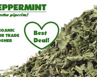 Organic PEPPERMINT Leaf - Mentha piperita dried leaves bulk herb, ounce, ounces, oz, non-GMO, fair trade, kosher, certified