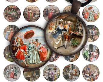 75% OFF SALE Fêtes galantes - Digital collage printable download 1 inch circle 30mm 25mm image for pendant glass charms digital image magnet