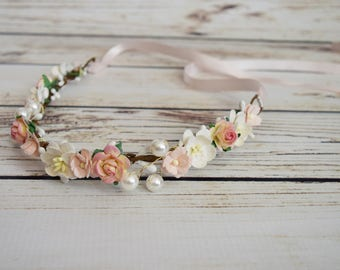 Handcrafted Baby Blush and Off White Flower Crown - Pearl Rose Flower Halo - Newborn Flower Crown - Wedding Baby Accessory - Small Crown