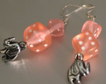 Lucky Handmade Miniature and Regular Pink Dice Beads With Faux Silver Elephant Charm Dangle Earrings
