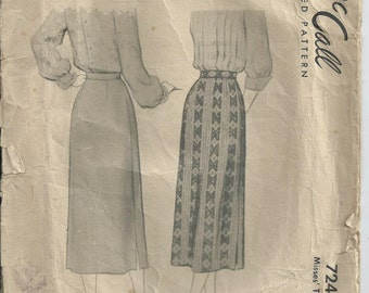 Vintage Pattern - 1940s Pattern - Straight Skirt - McCall Pattern 7245 - 1948 - Waist 71 cm