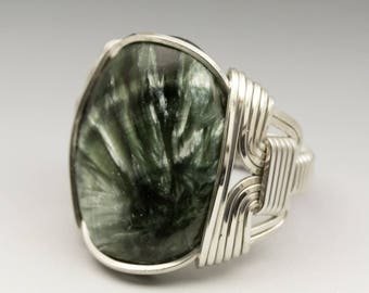 Seraphinite Clinochlore Gemstone 18x25mm Cabochon Sterling Silver Wire Wrapped Ring - Made to Order and Ships Fast!