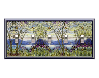 0460X - Stained Glass (faux) switch plate cover -  mrs butler switchplates - choose sizes / prices from drop down box