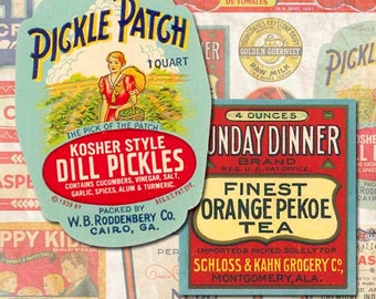 Digital Collage Sheet Vintage Ephemera Food Labels Vintage Labels Instant Download SL107