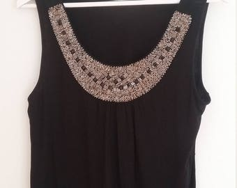 BOHEMIAN Vintage 90s Black Beaded Front Tank Top