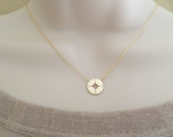 Tiny gold compass necklace, gold circle disk necklace, compass necklace