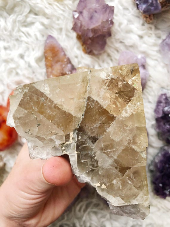 Golden Fluorite Cube : multi-colored Moroccan Fluorite partial crystal cube with chalcopyrite pyrite inclusions