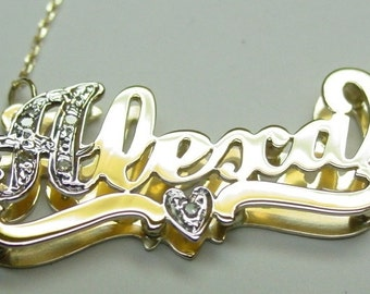 name  necklace with 6 diamonds  ,  14k solid gold , with a figaro  chain