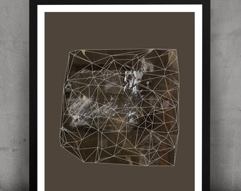 Abstract Geometric Urban Gemstone Print-Moss