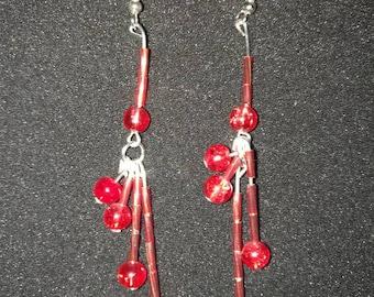 148. Red Tassel Earrings