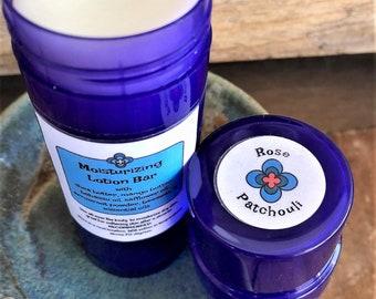 Moisturizing LOTION BAR/preservative free/all-natural/essential oils/Rose & Patchouli