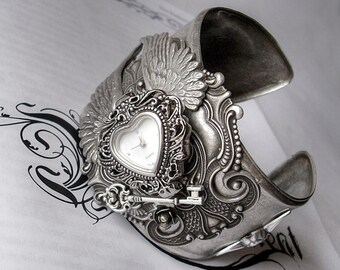 Gothic Watches Gothic Jewelry Silver Cuff Watch ladies Gothic Bracelet Silver Wings Heart shaped Watch,Angel Cupid Victorian Bracelet