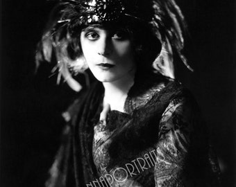 "THEDA BARA 5x7, 8x10, or 11x14 Photo Print Hollywood 1910s B&W ""James Abbe"" Glamorous VAMP,  Vintage Golden Age of Hollywood Portrait"