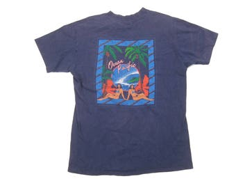 1980s OP Surf Tee Vintage Retro Made in USA 80s Ocean Pacific Navy Blue 100% Cotton Graphic T-Shirt Size Medium/Large M/L