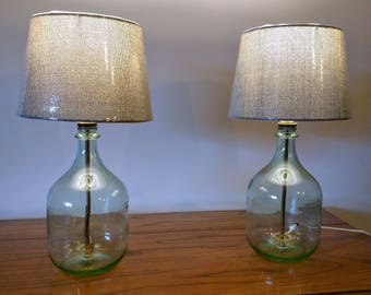 Superior Table Lamp, Bedside Lamp, Small Table Lamp, Bedroom Lamp, Glass Bottle Lamp