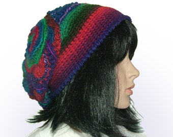 Freeform Crochet Beanie Hat Beret, OOAK Freeform Crochet in Purple Red Royal Blue, Wearable Art