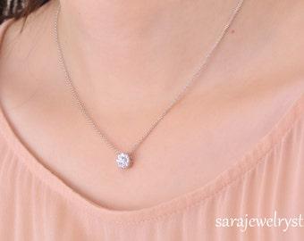 Precious 14k white gold diamond necklace clover necklace precious 14k white gold diamond necklace 9 round diamonds weight 034 carat aloadofball Choice Image