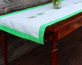 Green and White Linen Table Runner with Lily of the valley embroidery , Handmade Linen Table Cloth,  100% Pure Flax Linen, Mitered Corners