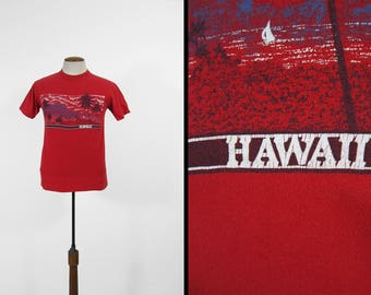 Vintage 80s Hawaii T-shirt Red Happy Shirts Palm Tree Made in USA - Medium