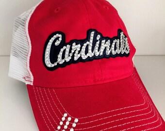 CARDINALS Bling Hat - Distressed Trucker Cap- Cardinals Baseball - Swarovski Rhinestones